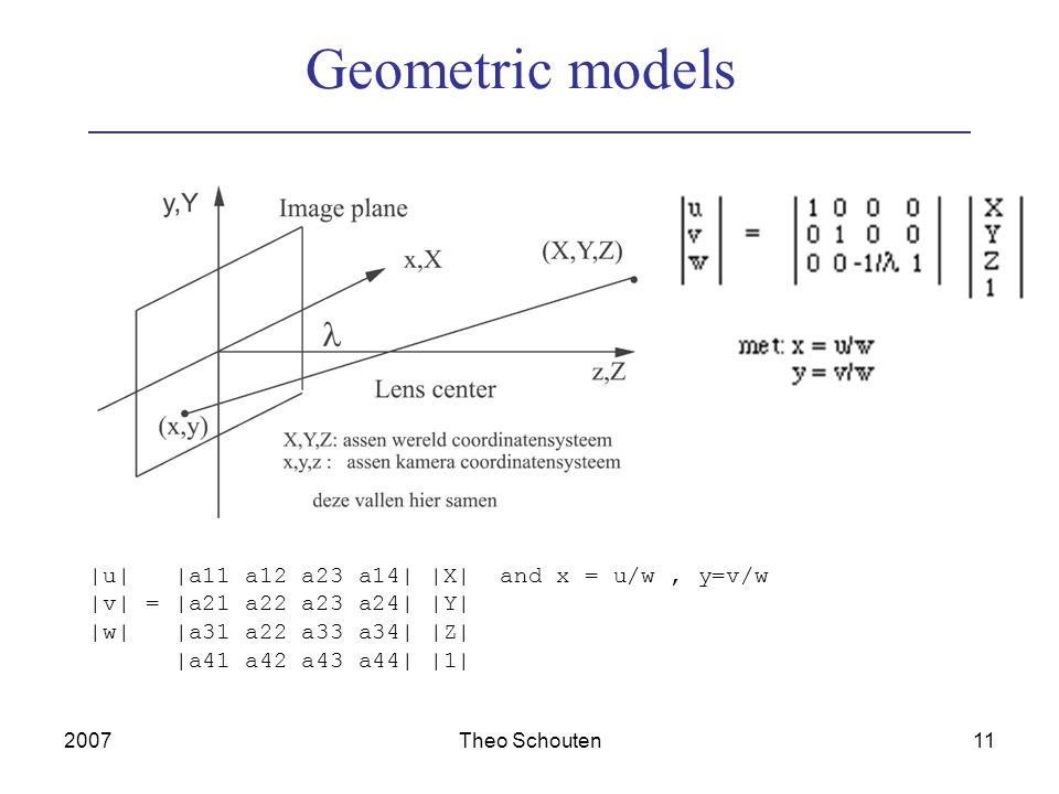 2007Theo Schouten11 Geometric models |u| |a11 a12 a23 a14| |X| and x = u/w, y=v/w |v| = |a21 a22 a23 a24| |Y| |w| |a31 a22 a33 a34| |Z| |a41 a42 a43 a44| |1|