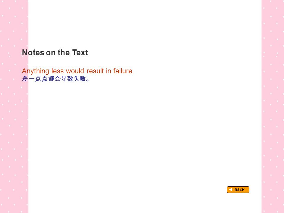 Notes on the Text TextB_P1_LP_ Being… Anything less would result in failure. 差一点点都会导致失败。