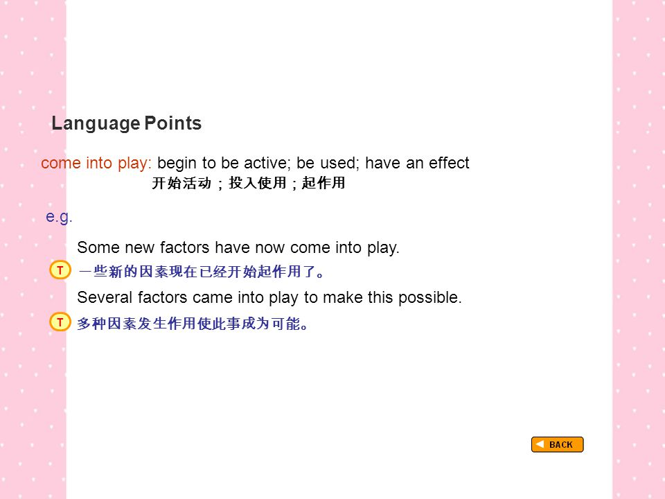 Language Points come into play: begin to be active; be used; have an effect 开始活动;投入使用;起作用 TextB_P2_LP_ come into play: e.g.
