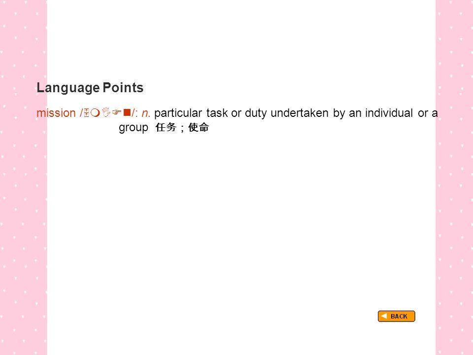 Language Points TextB_P3_LP_ mission mission /  /: n.