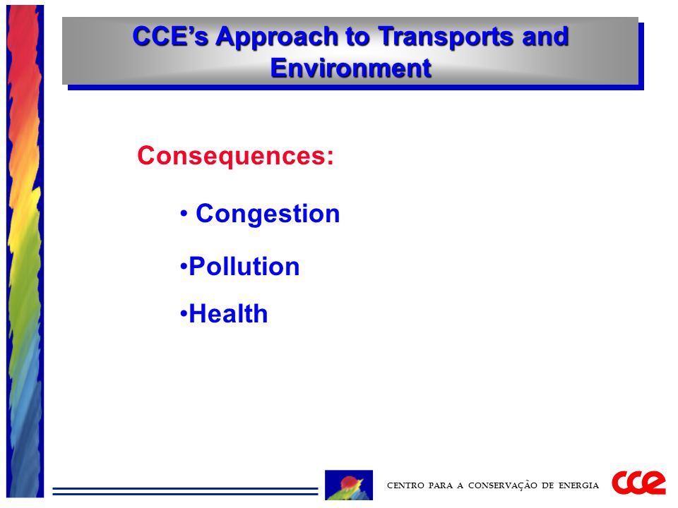 CCE's Approach to Transports and Environment CENTRO PARA A CONSERVAÇÃO DE ENERGIA Consequences: Congestion Pollution Health