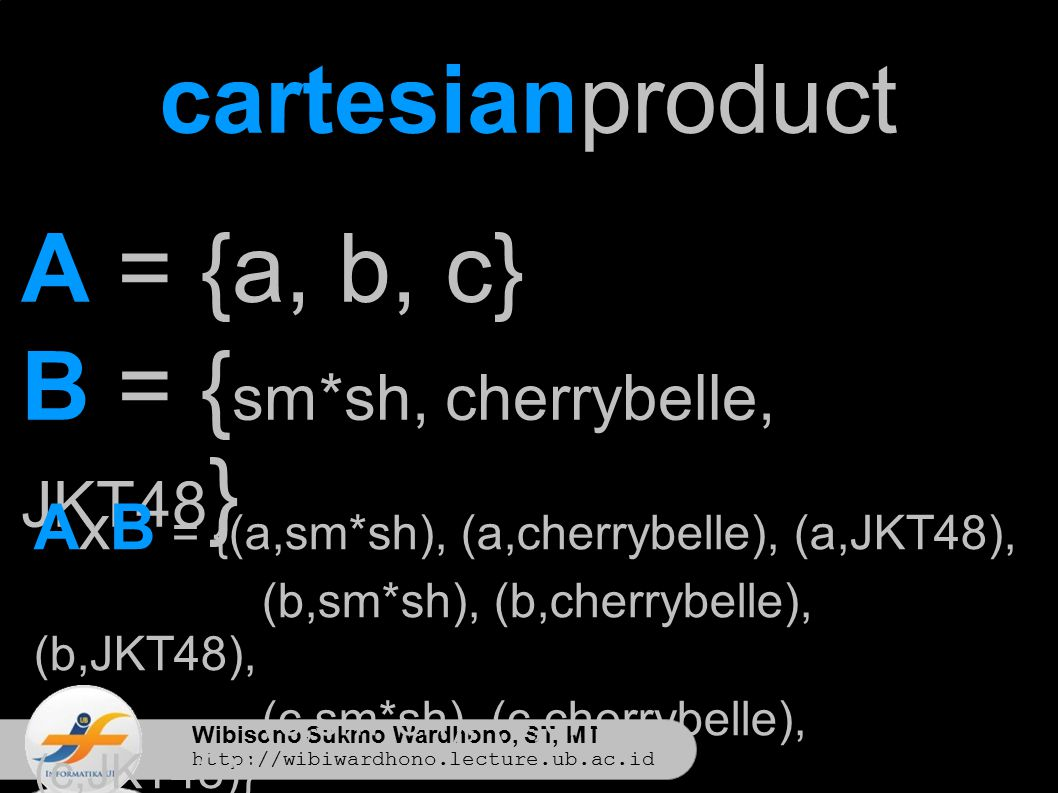 Wibisono Sukmo Wardhono, ST, MT http://wibiwardhono.lecture.ub.ac.id cartesianproduct A = {a, b, c} B = { sm*sh, cherrybelle, JKT48 } AxB = {(a,sm*sh), (a,cherrybelle), (a,JKT48), (b,sm*sh), (b,cherrybelle), (b,JKT48), (c,sm*sh), (c,cherrybelle), (c,JKT48)}