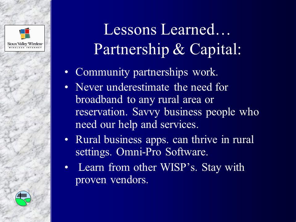 Lessons Learned… Partnership & Capital: Community partnerships work.