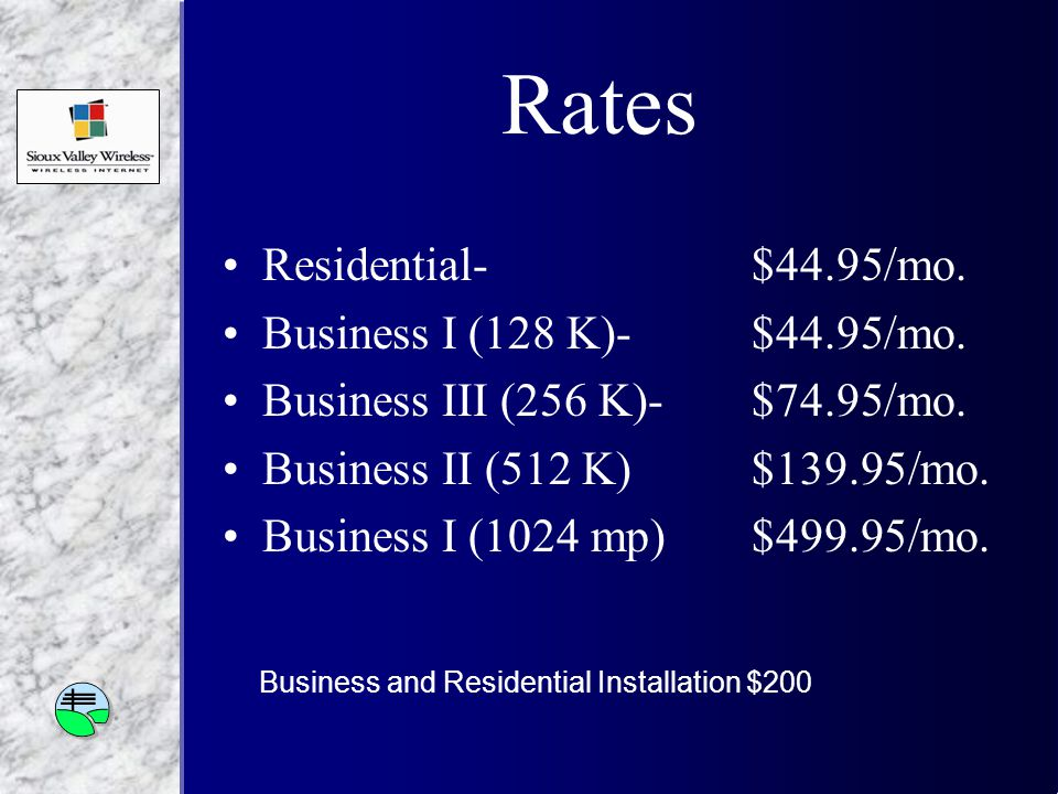 Rates Residential-$44.95/mo. Business I (128 K)-$44.95/mo.