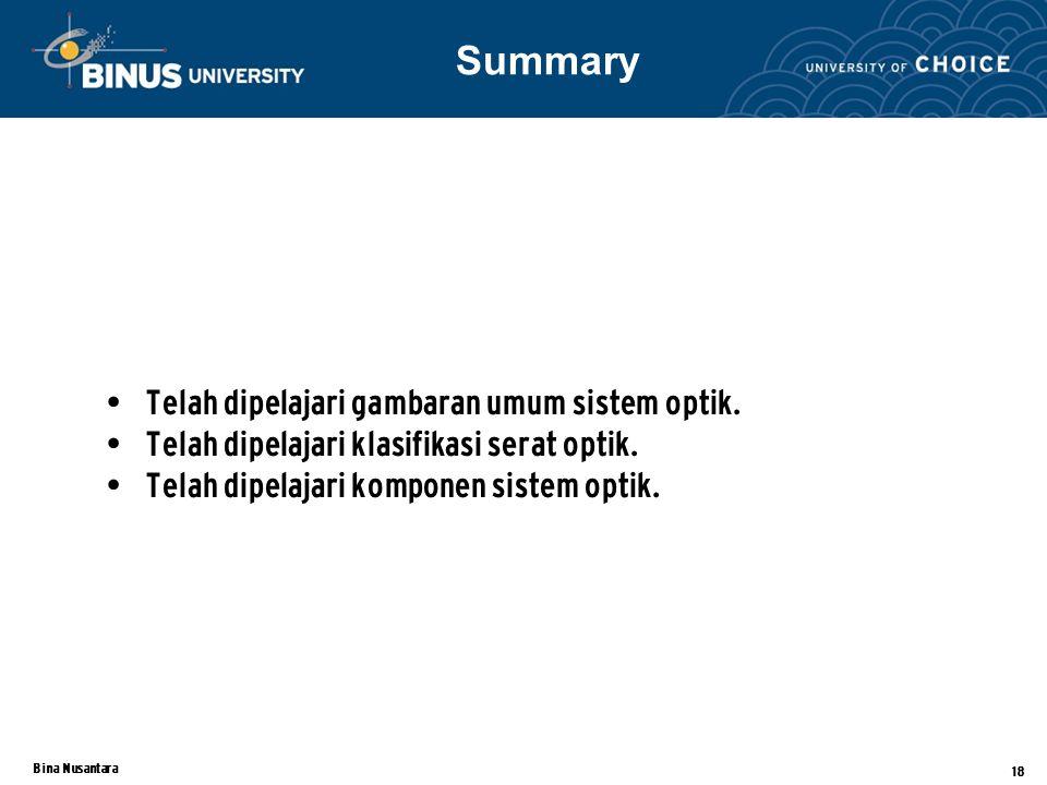 Bina Nusantara 18 Telah dipelajari gambaran umum sistem optik.