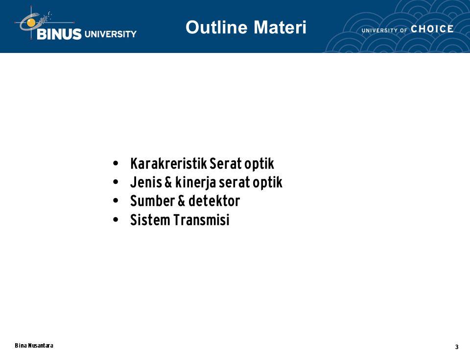 Bina Nusantara 3 Karakreristik Serat optik Jenis & kinerja serat optik Sumber & detektor Sistem Transmisi Outline Materi