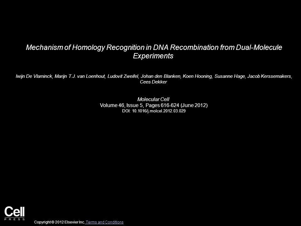 Mechanism of Homology Recognition in DNA Recombination from Dual-Molecule Experiments Iwijn De Vlaminck, Marijn T.J.