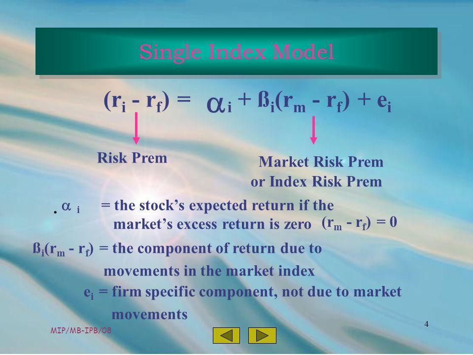 MIP/MB-IPB/08 4 (r i - r f ) = i + ß i (r m - r f ) + e i  Risk Prem Market Risk Prem or Index Risk Prem i = the stock's expected return if the market's excess return is zero ß i (r m - r f ) = the component of return due to movements in the market index (r m - r f ) = 0 e i = firm specific component, not due to market movements  Single Index Model