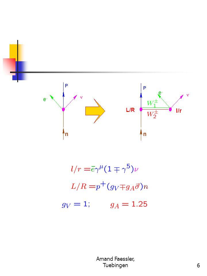 Amand Faessler, Tuebingen17 Neutrino-Masses from the 0 ν  and Neutrino Oscillations Solar Neutrinos (CL, Ga, Kamiokande, SNO) Atmospheric ν (Super-Kamiokande) Reactor ν (Chooz; KamLand) with CP-Invariance: