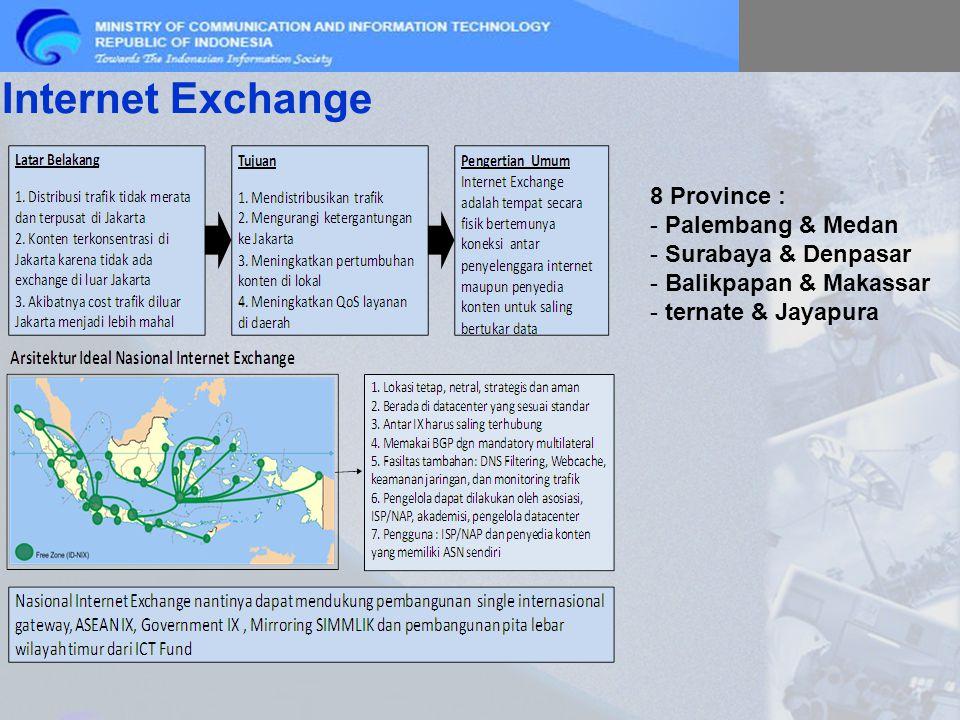 Internet Exchange 8 Province : - Palembang & Medan - Surabaya & Denpasar - Balikpapan & Makassar - ternate & Jayapura