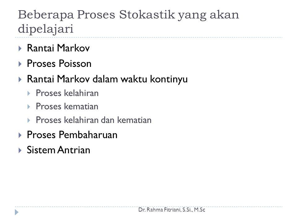 Beberapa Proses Stokastik yang akan dipelajari Dr.