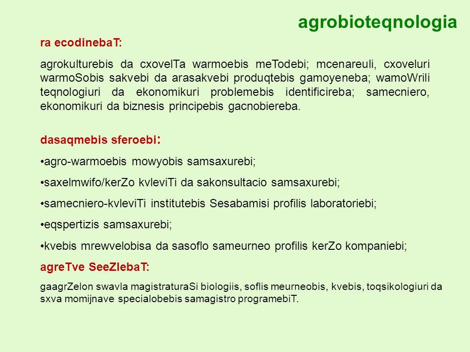 dasaqmebis sferoebi : agro-warmoebis mowyobis samsaxurebi; saxelmwifo/kerZo kvleviTi da sakonsultacio samsaxurebi; samecniero-kvleviTi institutebis Se