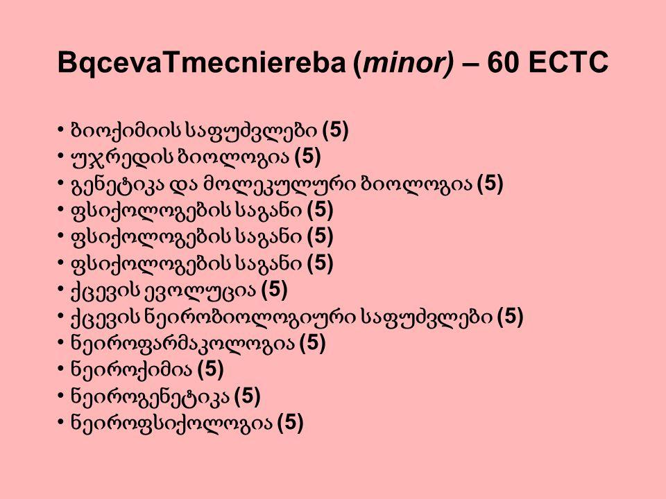 BqcevaTmecniereba (minor) – 60 ECTC ბიოქიმიის საფუძვლები (5) უჯრედის ბიოლოგია (5) გენეტიკა და მოლეკულური ბიოლოგია (5) ფსიქოლოგების საგანი (5) ქცევის ე