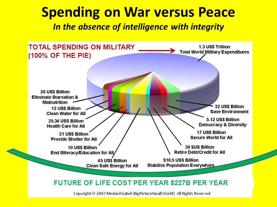 Spending on War versus Peace In the absence of intelligence with integrity TOTAL SPENDING ON MILITARY (100% OF THE PIE) FUTURE OF LIFE COST PER YEAR $227B PER YEAR