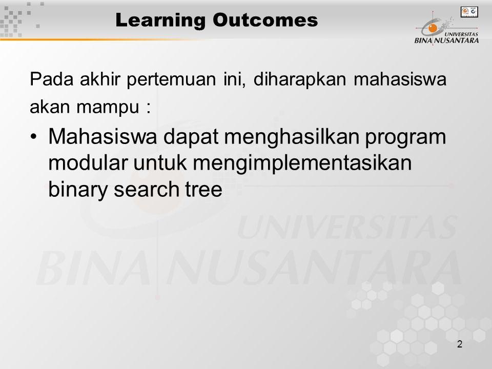 2 Learning Outcomes Pada akhir pertemuan ini, diharapkan mahasiswa akan mampu : Mahasiswa dapat menghasilkan program modular untuk mengimplementasikan binary search tree