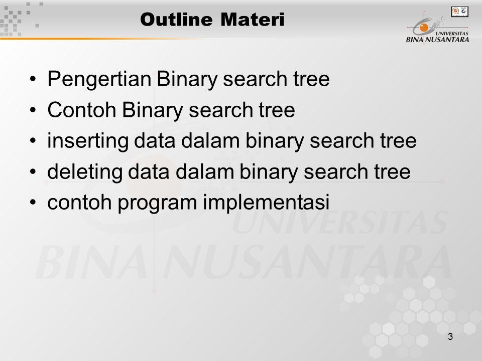 3 Outline Materi Pengertian Binary search tree Contoh Binary search tree inserting data dalam binary search tree deleting data dalam binary search tree contoh program implementasi