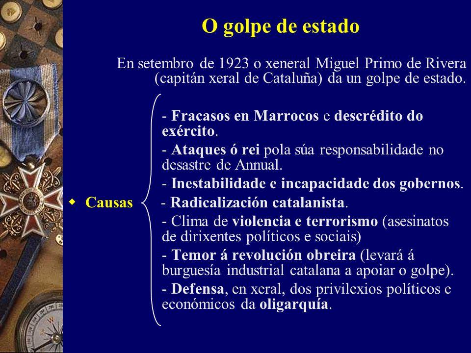 O golpe de estado En setembro de 1923 o xeneral Miguel Primo de Rivera (capitán xeral de Cataluña) da un golpe de estado.