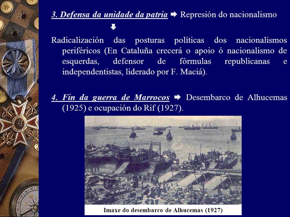 3. Defensa da unidade da patria  Represión do nacionalismo  Radicalización das posturas políticas dos nacionalismos periféricos (En Cataluña crecerá