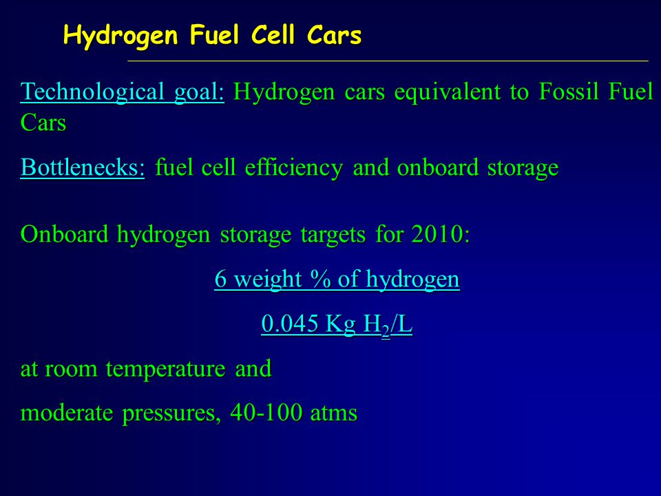Technological goal: Hydrogen cars equivalent to Fossil Fuel Cars Bottlenecks: fuel cell efficiency and onboard storage Onboard hydrogen storage targets for 2010: 6 weight % of hydrogen 0.045 Kg H 2 /L at room temperature and moderate pressures, 40-100 atms Hydrogen Fuel Cell Cars