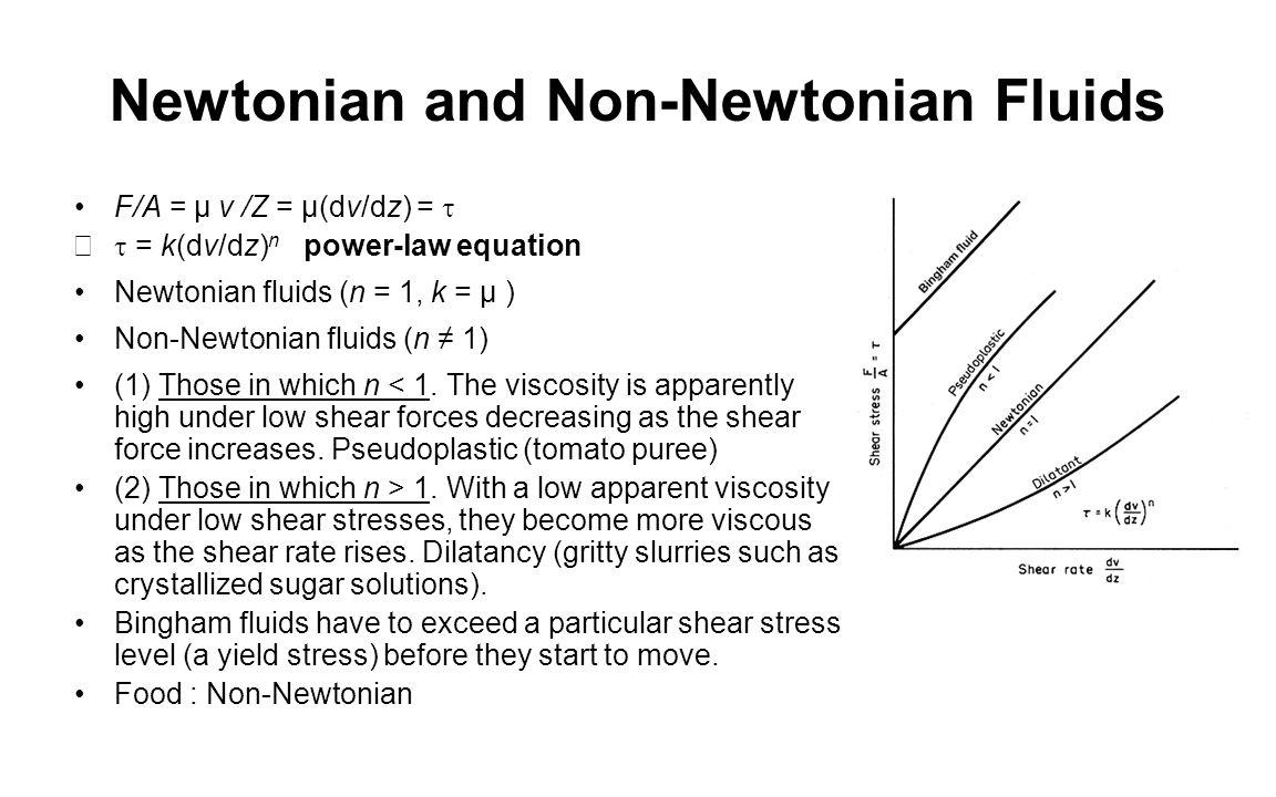 Newtonian and Non-Newtonian Fluids F/A = µ v /Z = µ(dv/dz) =   = k(dv/dz) n power-law equation Newtonian fluids (n = 1, k = µ ) Non-Newtonian fluid