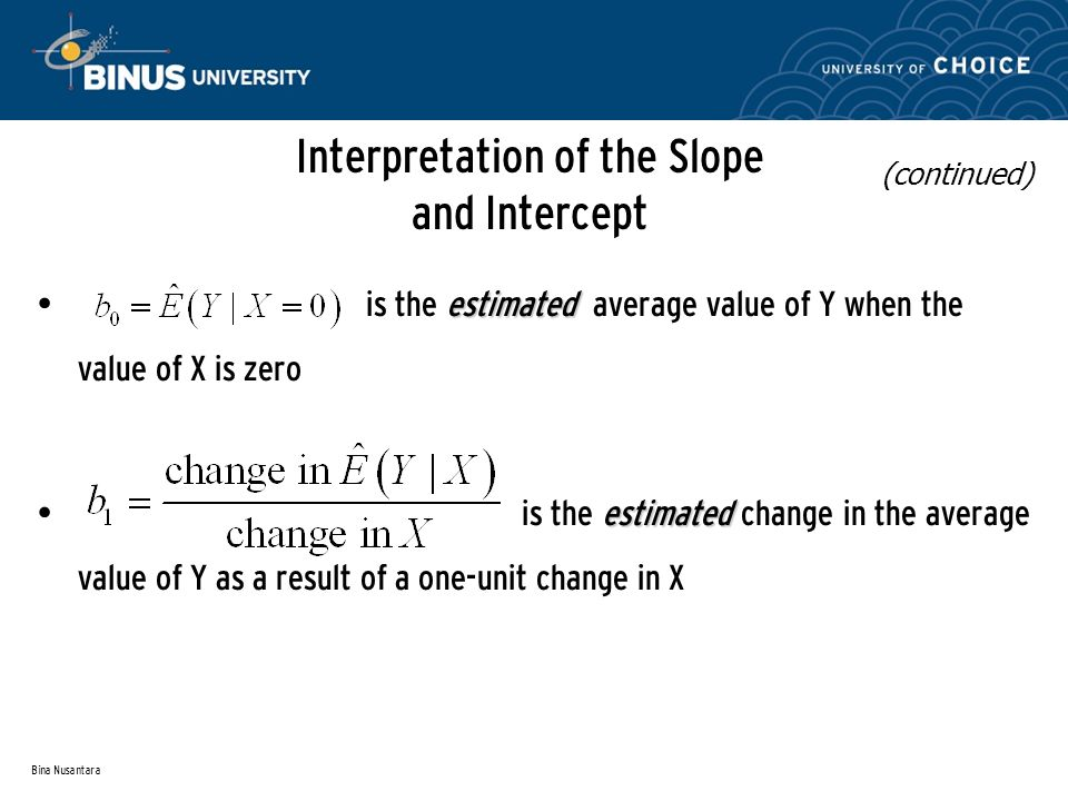 Bina Nusantara Interpretation of the Slope and Intercept estimated is the estimated average value of Y when the value of X is zero estimated is the estimated change in the average value of Y as a result of a one-unit change in X (continued)