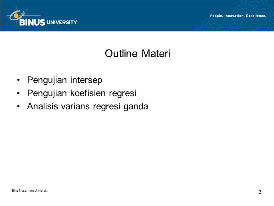 Bina Nusantara University 3 Outline Materi Pengujian intersep Pengujian koefisien regresi Analisis varians regresi ganda