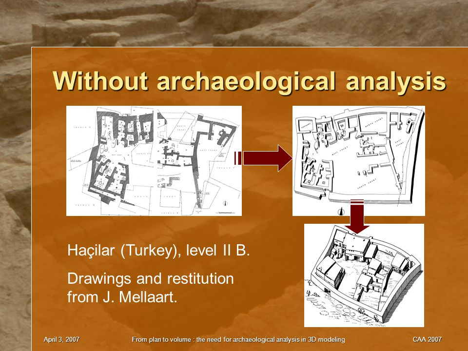 April 3, 2007From plan to volume : the need for archaeological analysis in 3D modelingCAA 2007 Without archaeological analysis Haçilar (Turkey), level