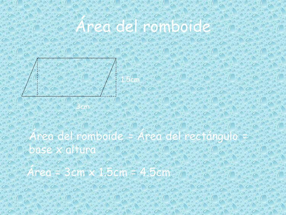 Área del cuadrado y del rectángulo Área del cuadrado = lado x lado =lado 2 Área = 2cm x2cm = 4cm 2cm 2 4cm 2cm Área del rectángulo = largo x ancho= = base x altura Área = 4cm x 2cm =8cm 2