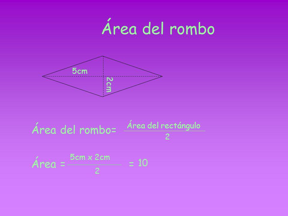 Área del romboide Área del romboide = Área del rectángulo = base x altura 3cm 1.5cm Área = 3cm x 1.5cm = 4.5cm