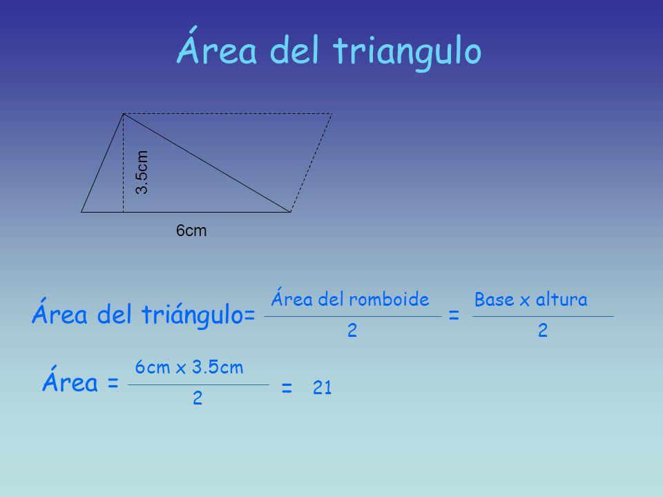 Área del rombo Área del rombo= Área del rectángulo 2 Área = 5cm x 2cm 2 5cm = 10 2cm