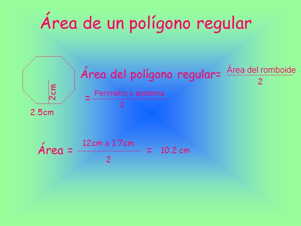 Área del triangulo Área del triángulo= Área del romboide 2 = Base x altura 2 3.5cm 6cm Área = 6cm x 3.5cm 2 = 21