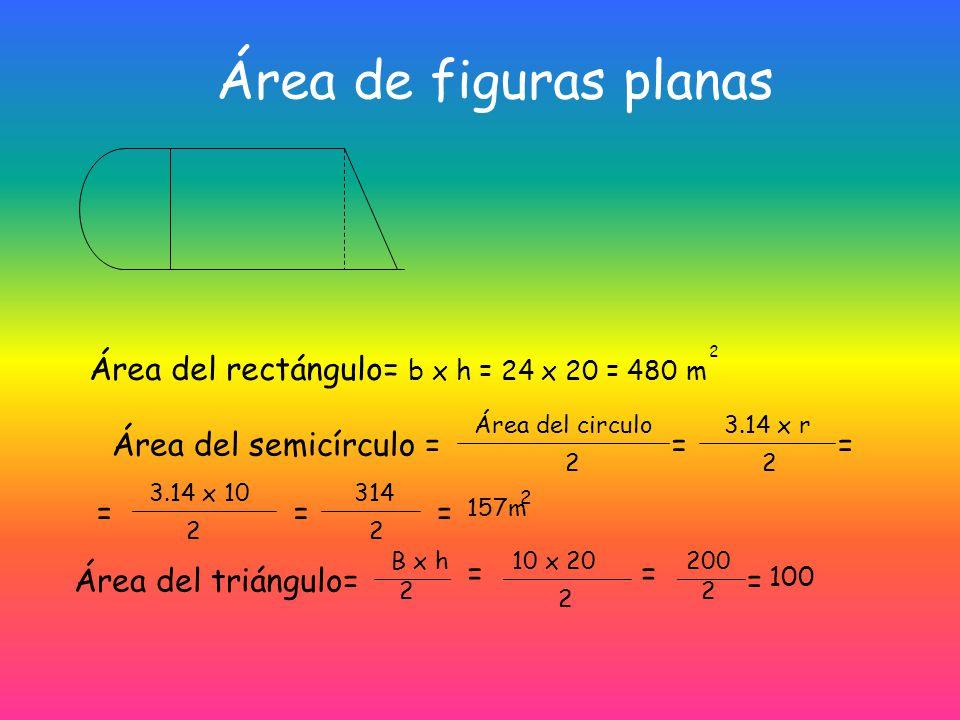 Área del circulo Área del circulo = Longitud de la circunferencia x radio 2 = 2 x 3.14 x r x r = 2 = 3.14 x r 2 3cm Área = 3 x 3.14 = 9.92