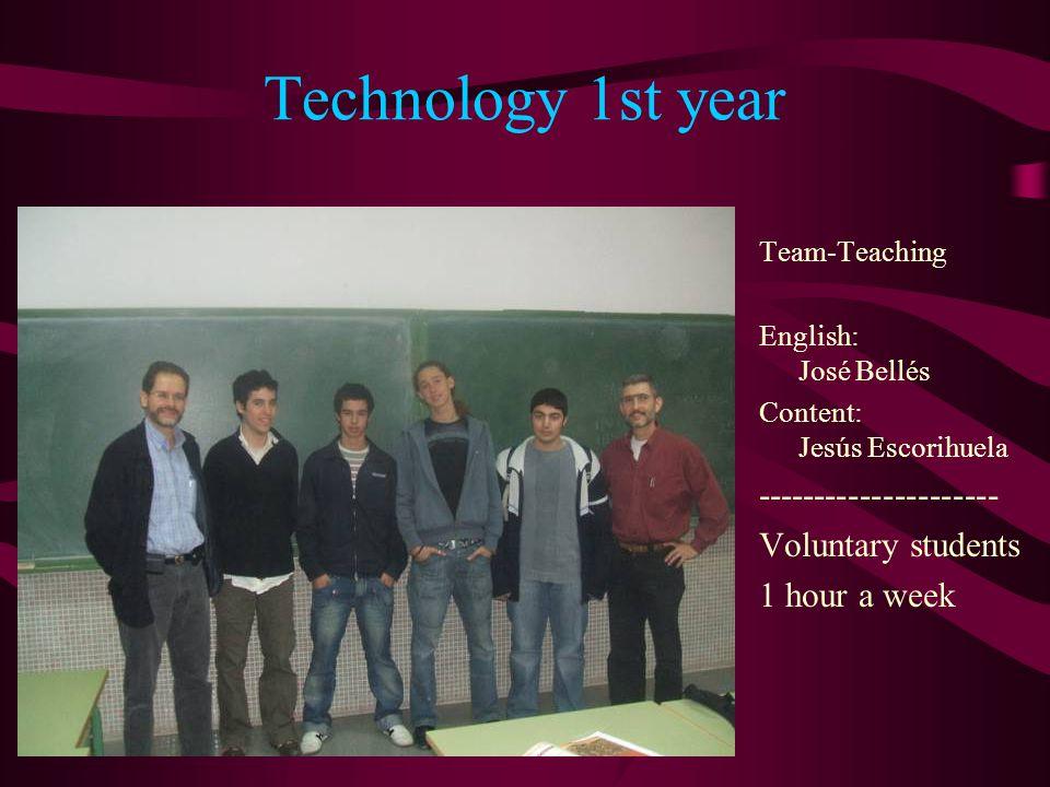 Technology 1st year Team-Teaching English: José Bellés Content: Jesús Escorihuela --------------------- Voluntary students 1 hour a week