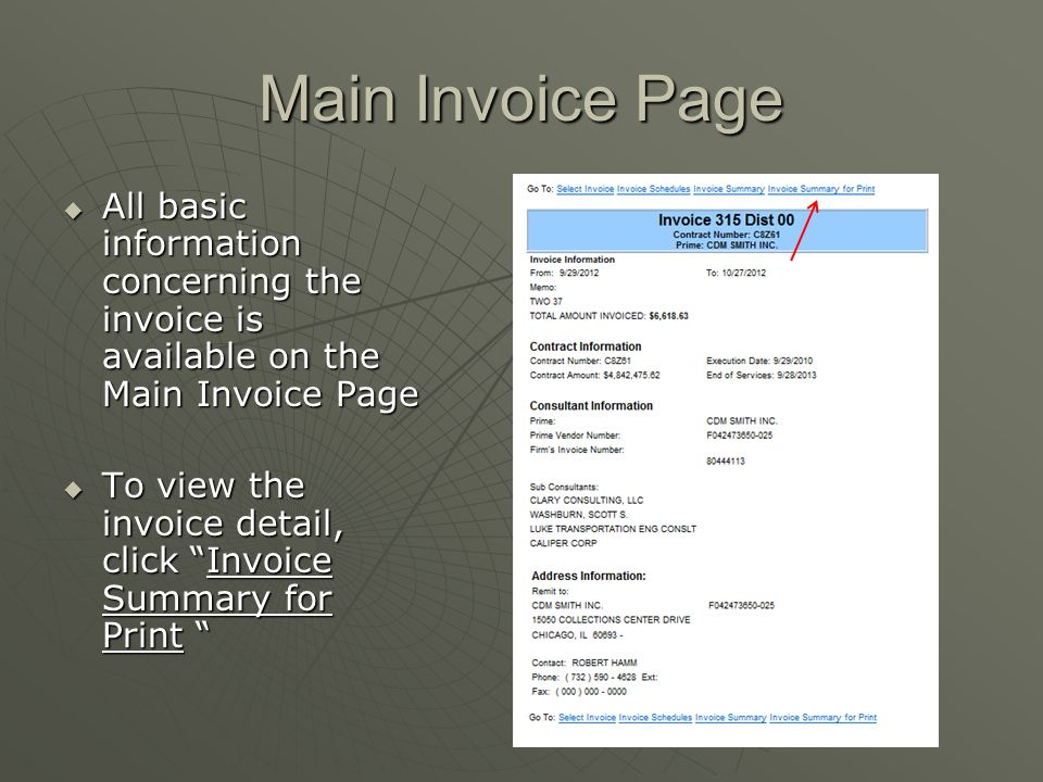 "Main Invoice Page  All basic information concerning the invoice is available on the Main Invoice Page  To view the invoice detail, click ""Invoice Su"