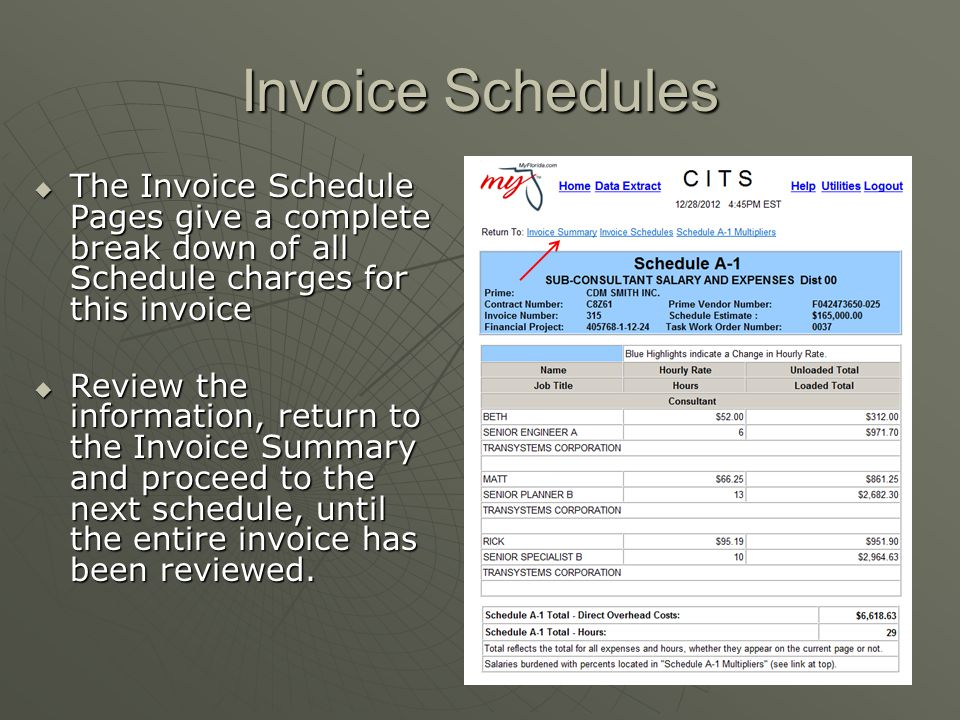 Invoice Schedules  The Invoice Schedule Pages give a complete break down of all Schedule charges for this invoice  Review the information, return to
