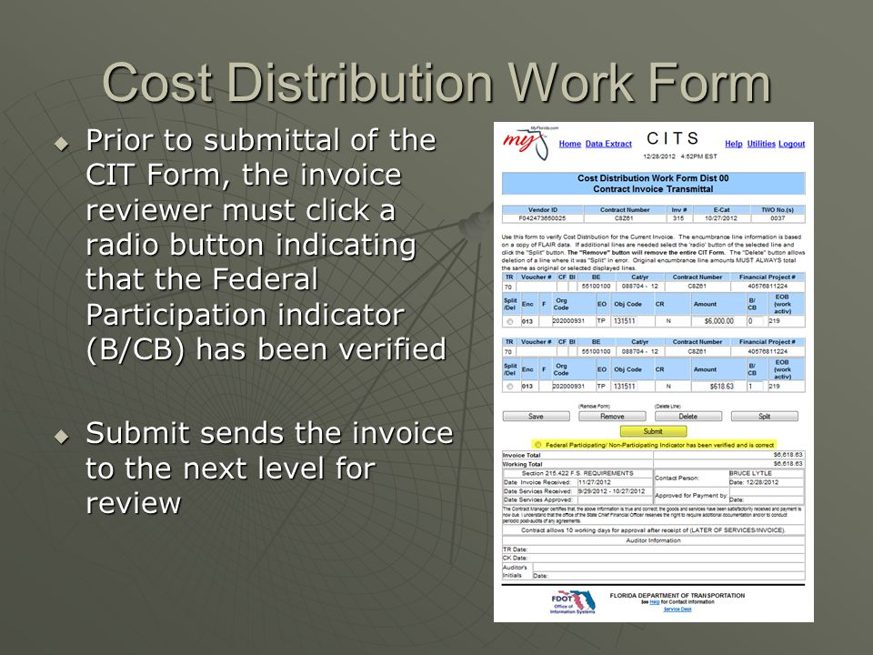 Cost Distribution Work Form  Prior to submittal of the CIT Form, the invoice reviewer must click a radio button indicating that the Federal Participa