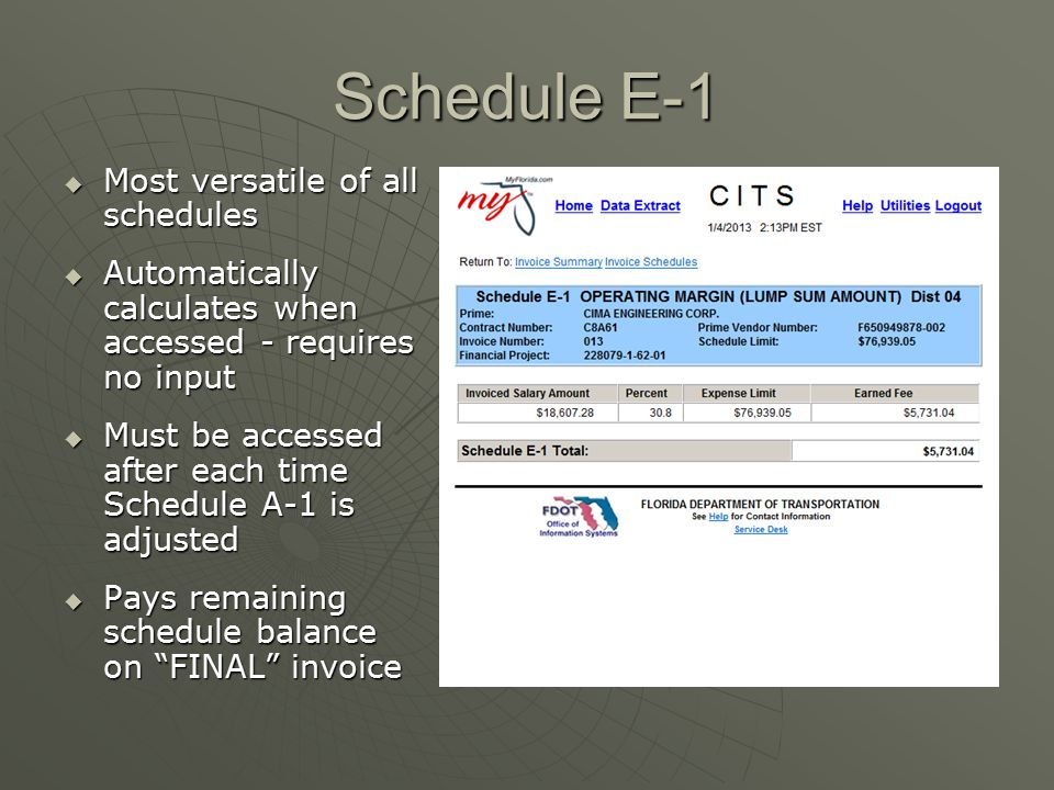 Schedule E-1  Most versatile of all schedules  Automatically calculates when accessed - requires no input  Must be accessed after each time Schedul