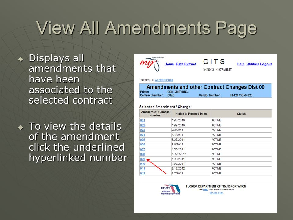 View All Amendments Page  Displays all amendments that have been associated to the selected contract  To view the details of the amendment click the