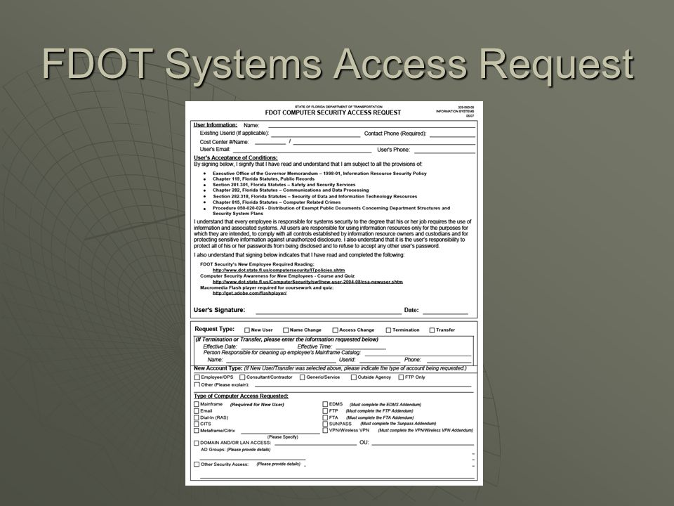 FDOT Systems Access Request