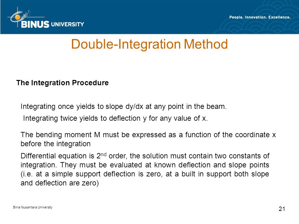 Bina Nusantara University 20 Double-Integration Method An expression for the curvature at any point along the curve representing the deformed beam is readily available from differential calculus.