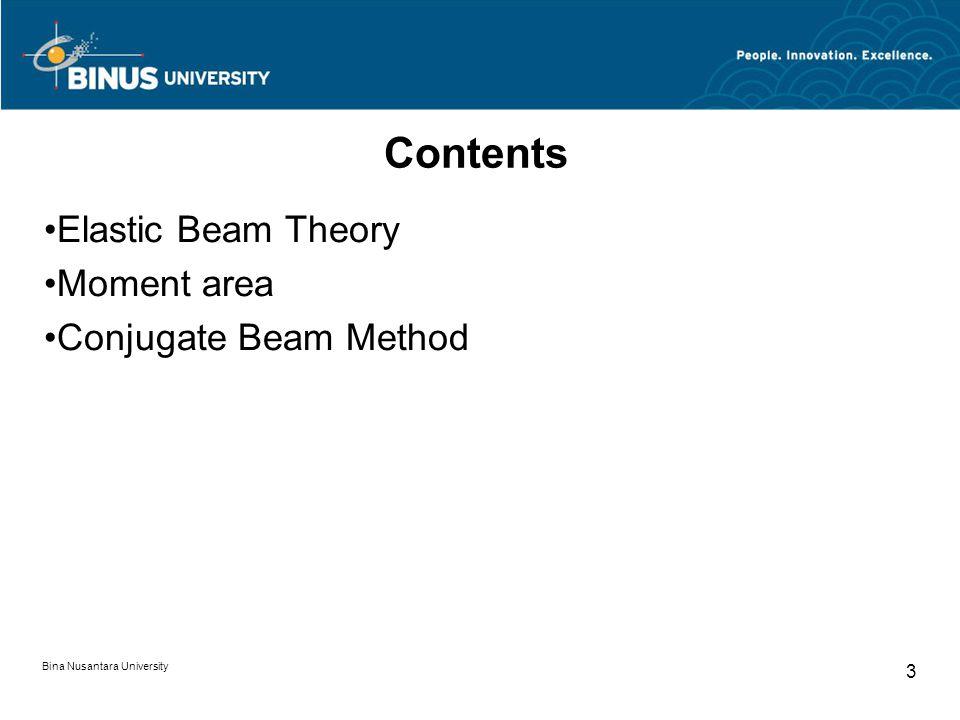 Bina Nusantara University 3 Contents Elastic Beam Theory Moment area Conjugate Beam Method