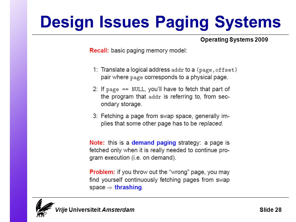 Design Issues Paging Systems Operating Systems 2009 Vrije Universiteit AmsterdamSlide 28