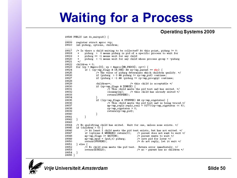 Waiting for a Process Operating Systems 2009 Vrije Universiteit AmsterdamSlide 50