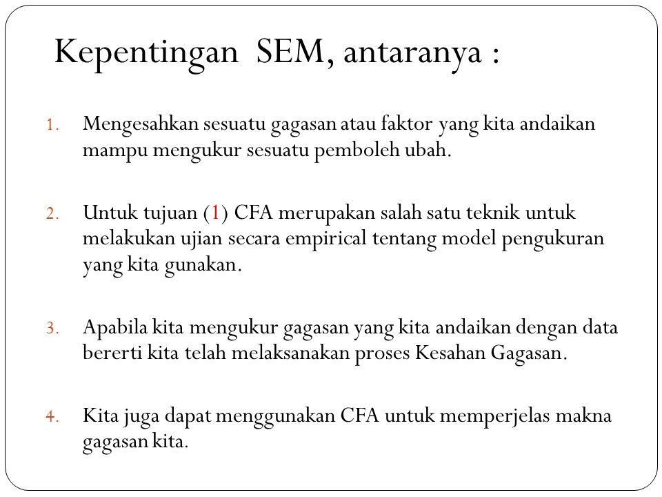 Beberapa istilah dalam SEM : No.IstilahKeterangan 1.Pemboleh ubah (PU) Endogenus Merupakan PU bersandar.