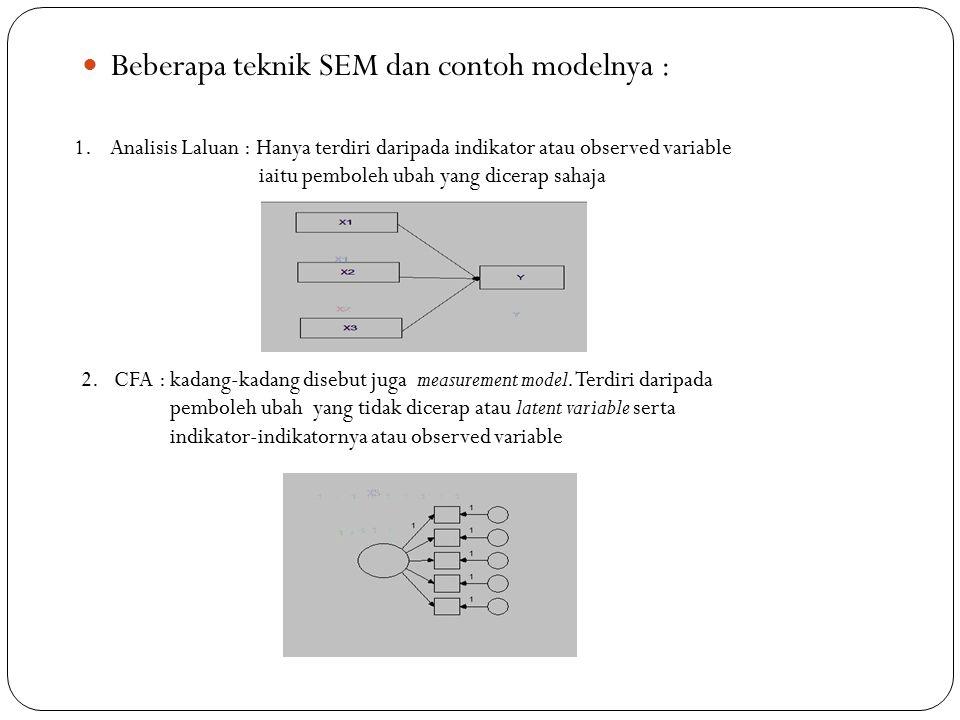Kesimpulannya : SEM (structural equation model) atau persamaan model structural merupakan gabungan daripada dua atau lebih model pengukuran (CFA) yang dihubungkan dengan anak panah untuk menunjukkan yang mana satu pemboleh ubah bebas yang mana satu pemboleh ubah bersandar dan yang mana satu pemboleh ubah bebas.