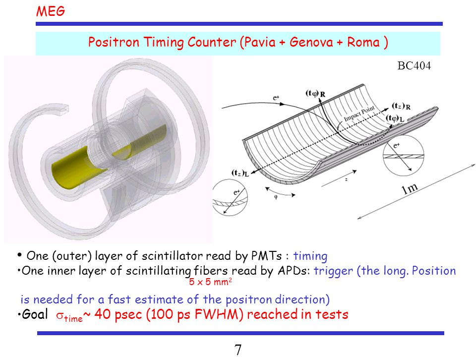 MEG 7 Positron Timing Counter (Pavia + Genova + Roma ) One (outer) layer of scintillator read by PMTs : timing One inner layer of scintillating fibers read by APDs: trigger (the long.