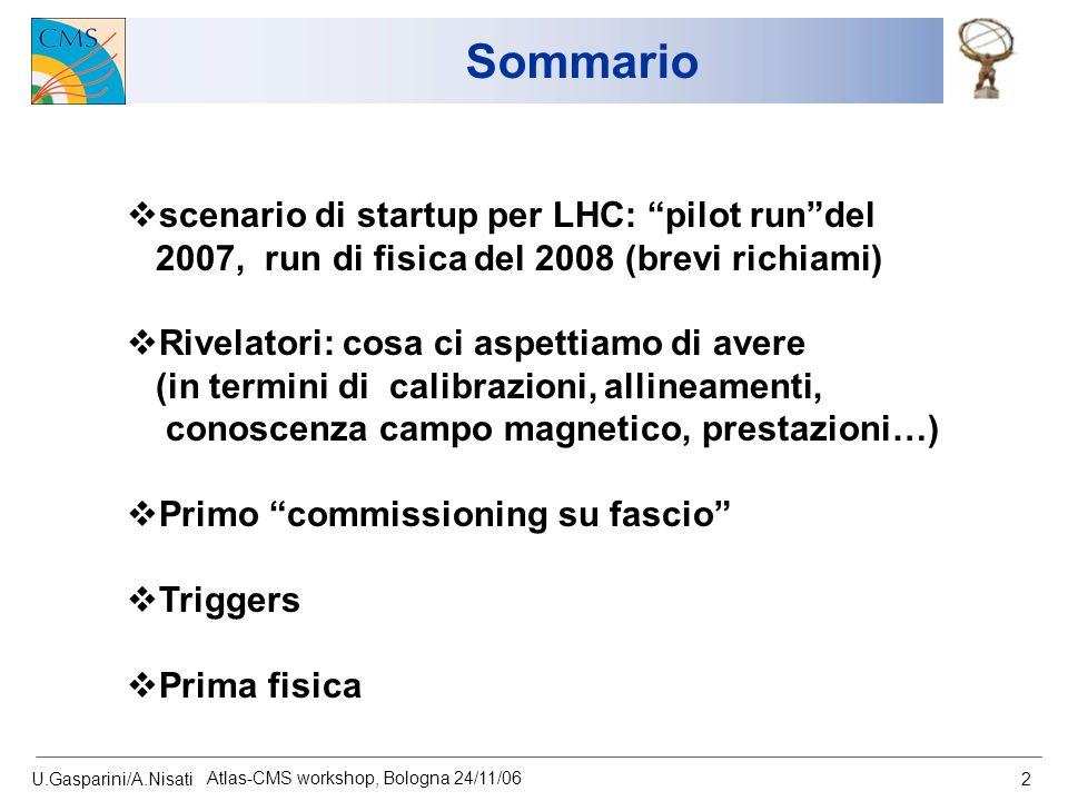 """U.Gasparini/A.Nisati Atlas-CMS workshop, Bologna 24/11/06 2 Sommario  scenario di startup per LHC: """"pilot run""""del 2007, run di fisica del 2008 (brevi"""