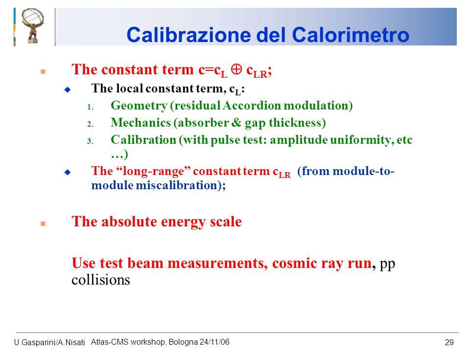 U.Gasparini/A.Nisati Atlas-CMS workshop, Bologna 24/11/06 29 n The constant term c=c L  c LR ; u The local constant term, c L : 1. Geometry (residual
