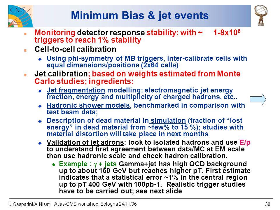 U.Gasparini/A.Nisati Atlas-CMS workshop, Bologna 24/11/06 38 Minimum Bias & jet events n Monitoring detector response stability: with ~ 1-8x10 6 trigg