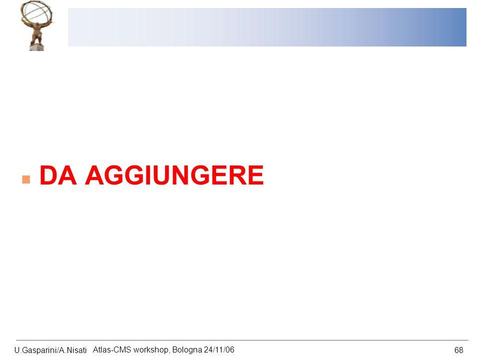 U.Gasparini/A.Nisati Atlas-CMS workshop, Bologna 24/11/06 68 n DA AGGIUNGERE